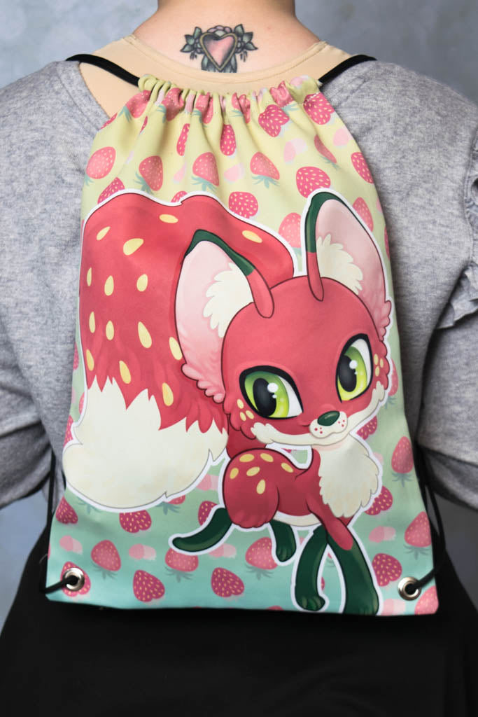 Strawberry Fox Drawstring Bag