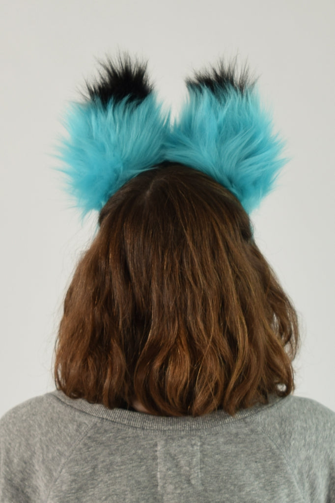 Luxury Teal Ear & Tail Set- Black Tip