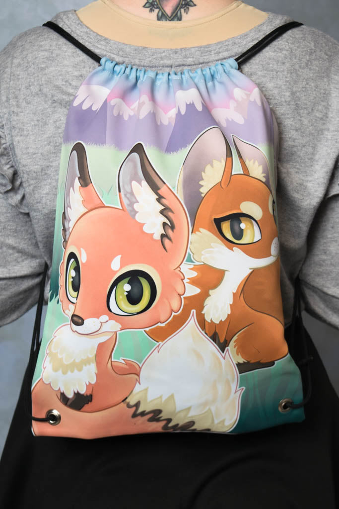 Foxes Drawstring Bag