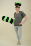 Deluxe Lime Green Luxury Furry Ear & Tail Set - Striped