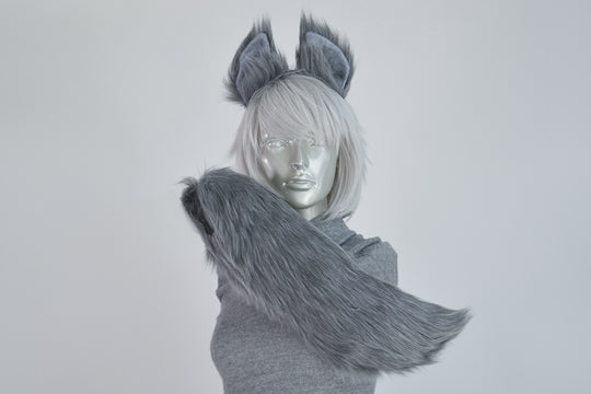 Gray Wolf Furry Ear & Tail Set - Small