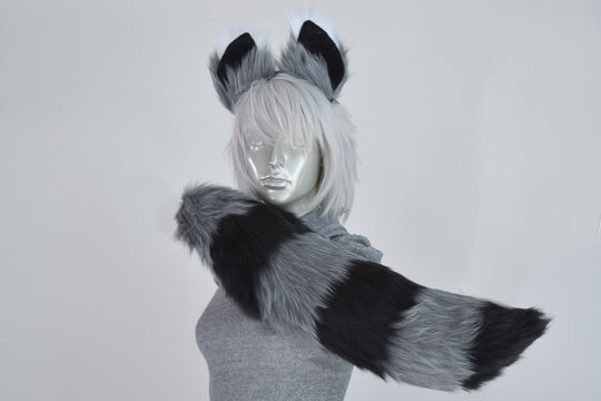Gray Raccoon Furry Ear & Tail Set