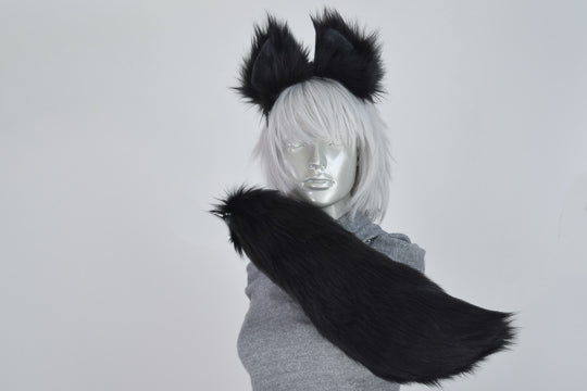 Black Wolf Furry Ear & Tail Set - Small