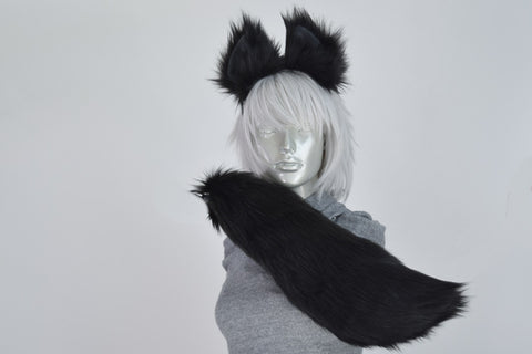 Luxury Black Fox Small Ear and/or Tail Set