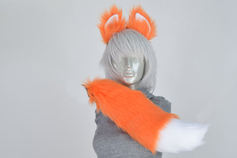 Luxury Orange Fox Furry Ear & Tail Set - Small