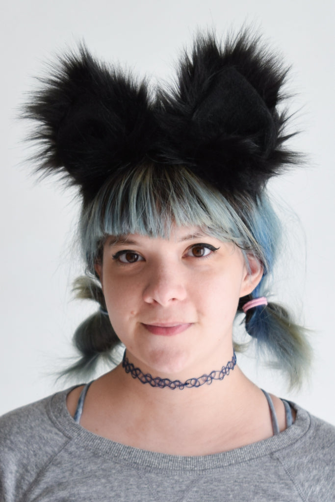 Luxury Black Cat Ear & Tail Set