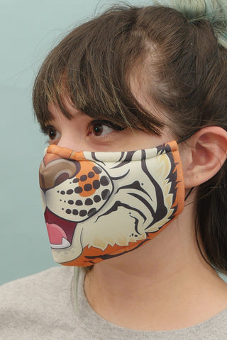 Orange Tiger Face Mask