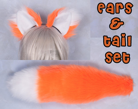 Luxury Fluorescent Orange Furry Ear & Tail Set - White Tip