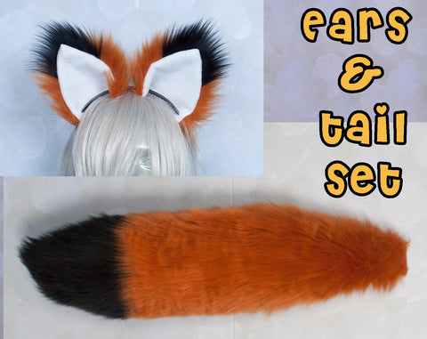 Luxury Rust Furry Ear & Tail Set - Black Tip