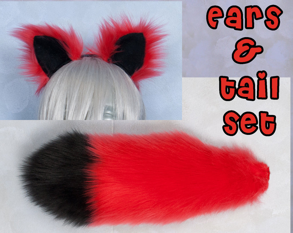 Luxury Red Fox Small Ear and/or Tail Set w/ Black Tip