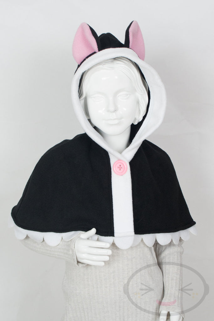 Kids Black Cat Capelet - Hood and Tail