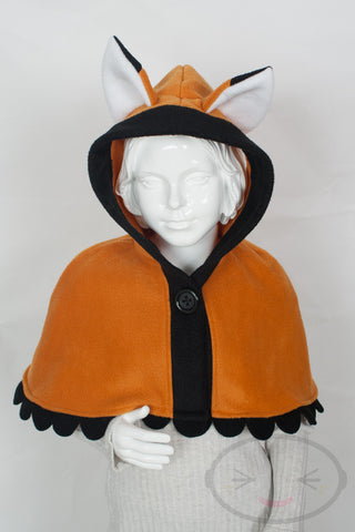 Kids Orange Fox Capelet - Hood and Tail