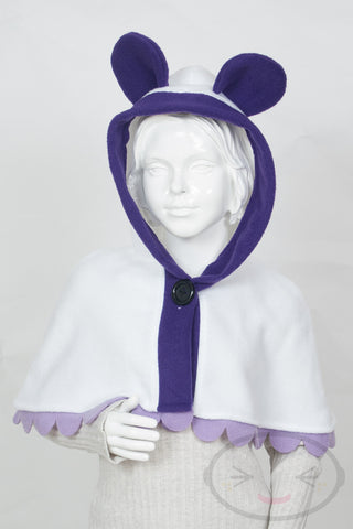 Kids Purple Panda Capelet - Hood and Tail