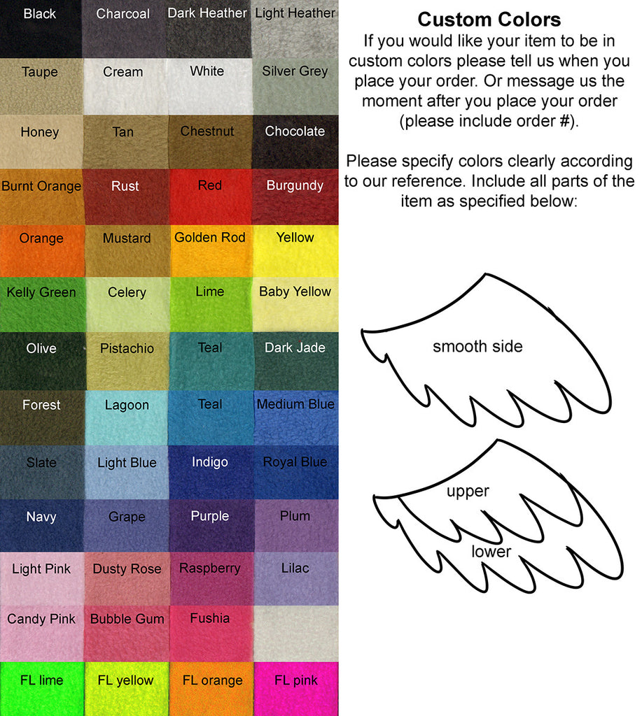 Standard Solid Feather Wings - Color Options