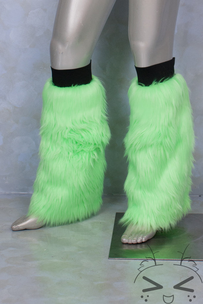 Fluorescent Lime Luxury Fur Legwarmers