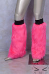Fluorescent Pink Luxury Fur Legwarmers