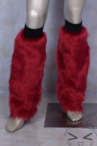 Dark Red Luxury Fur Legwarmers