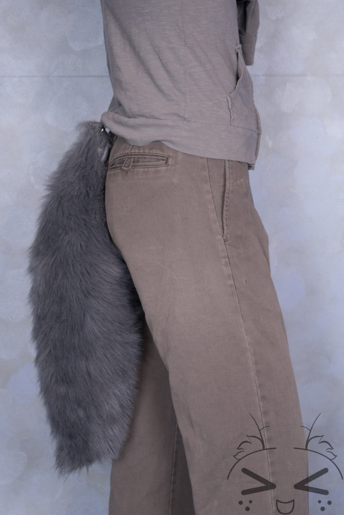 Grey Luxury Fur Tail- Solid