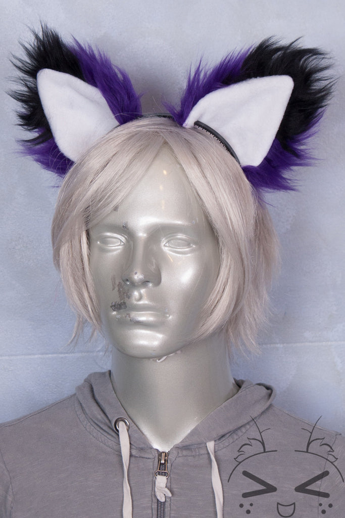 Purple Luxury Fur Ears- Black Tip
