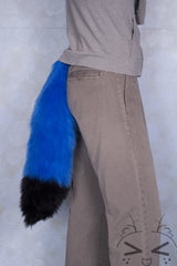 Blue Luxury Fur Tail- Black Tip