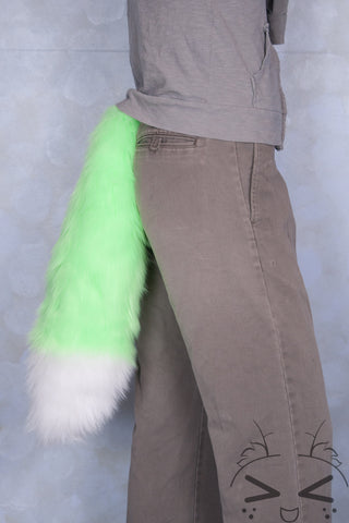 Fluorescent Lime Luxury Fur Tail- White Tip