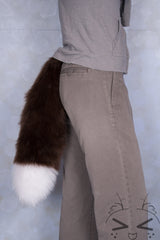 Brown Luxury Fur Tail- White Tip