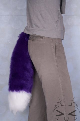 Purple Luxury Fur Tail- White Tip
