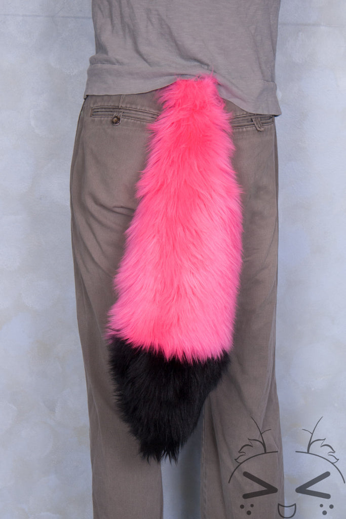 Fluorescent Pink Luxury Fur Tail- Black Tip