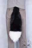 Luxury Black Furry Ear & Tail Set- White Tip