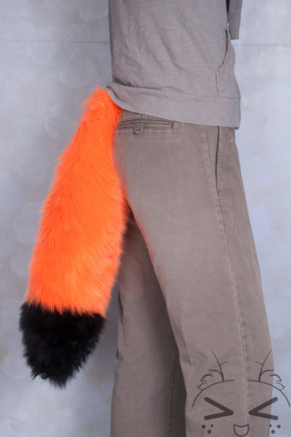 Fluorescent Orange Luxury Fur Tail- Black Tip