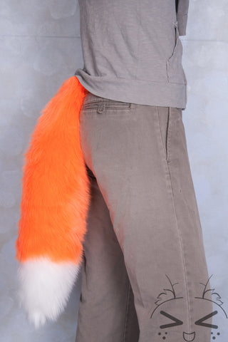Fluorescent Orange Luxury Fur Tail- White Tip