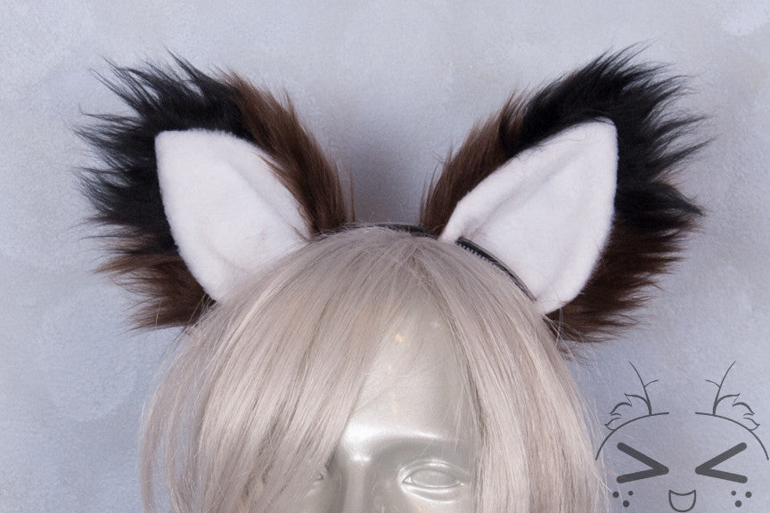 Luxury Brown Furry Ear & Tail Set - Black Tip