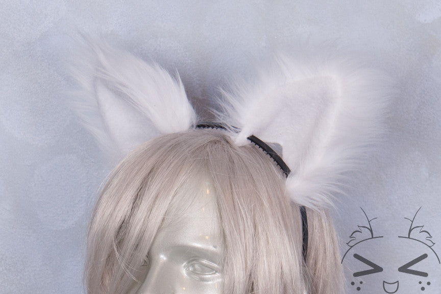 Luxury White Furry Ear & Tail Set- Solid