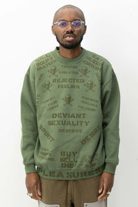 Crush Crewneck Sweater in Army