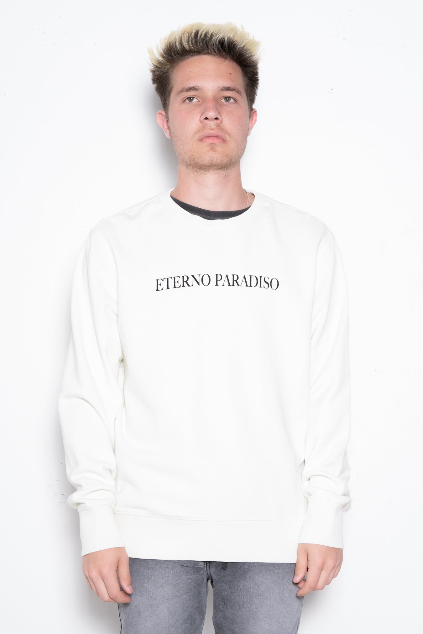 Tonal Type Print Hooded Sweatshirt in Putty