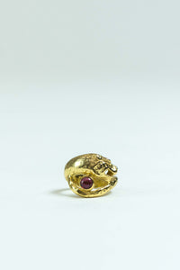 Big Cat Ring in 1/20 14K Gold/Red Garnet