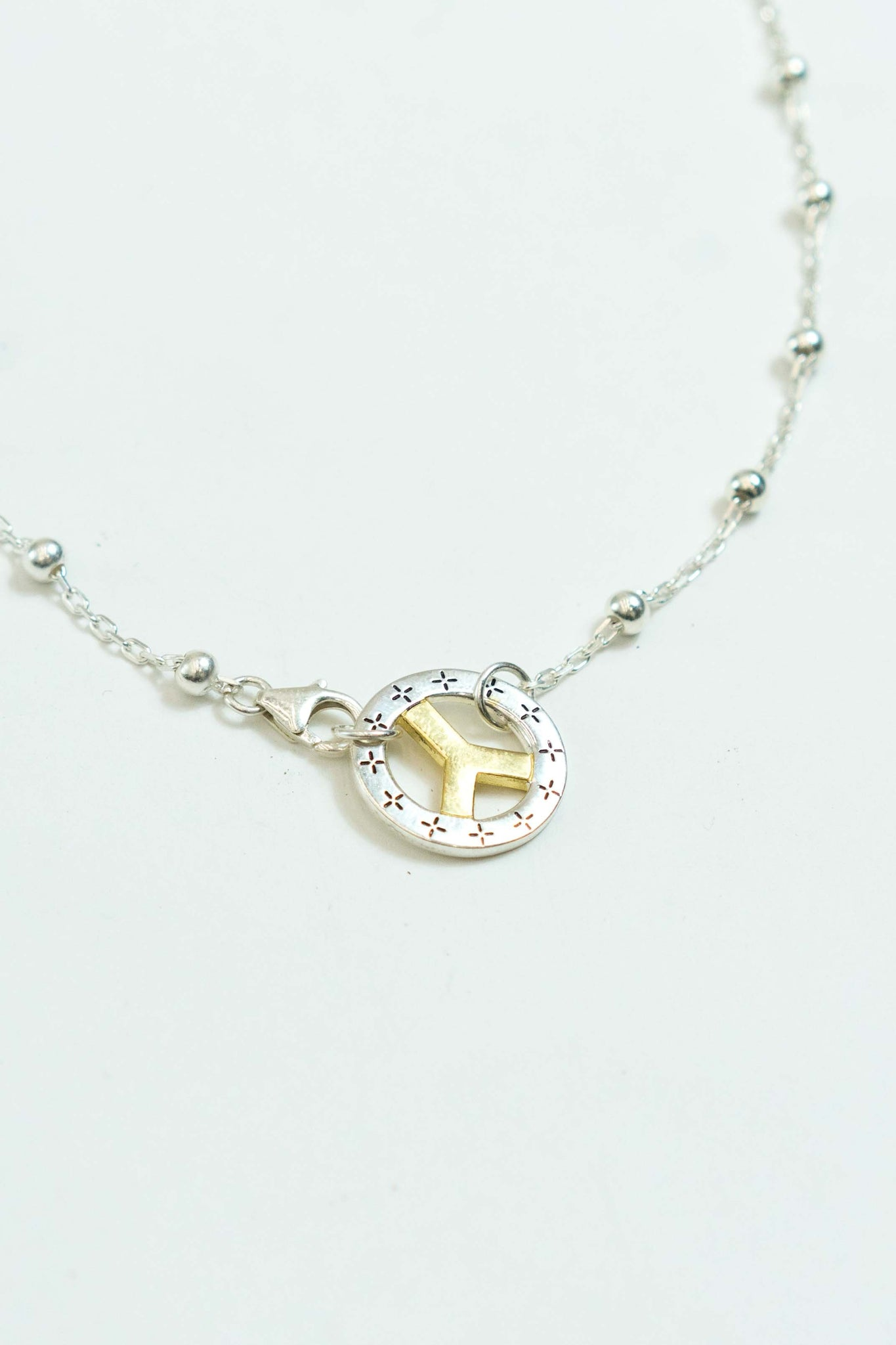 Bead Link Chain in Silver/14K Gold