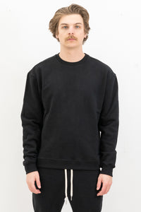Oversized Crewneck Pullover in Black
