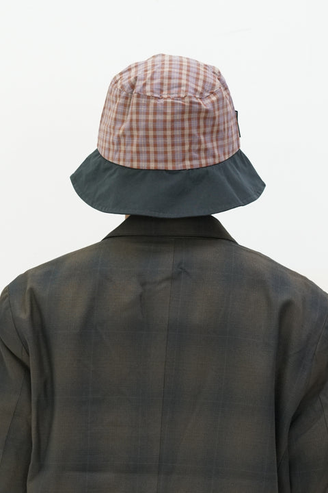Mixed Plaid Bucket Hat in Black
