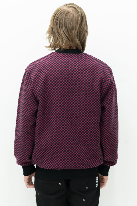Alliance Checkered Cardigan in Fuchsia/Black