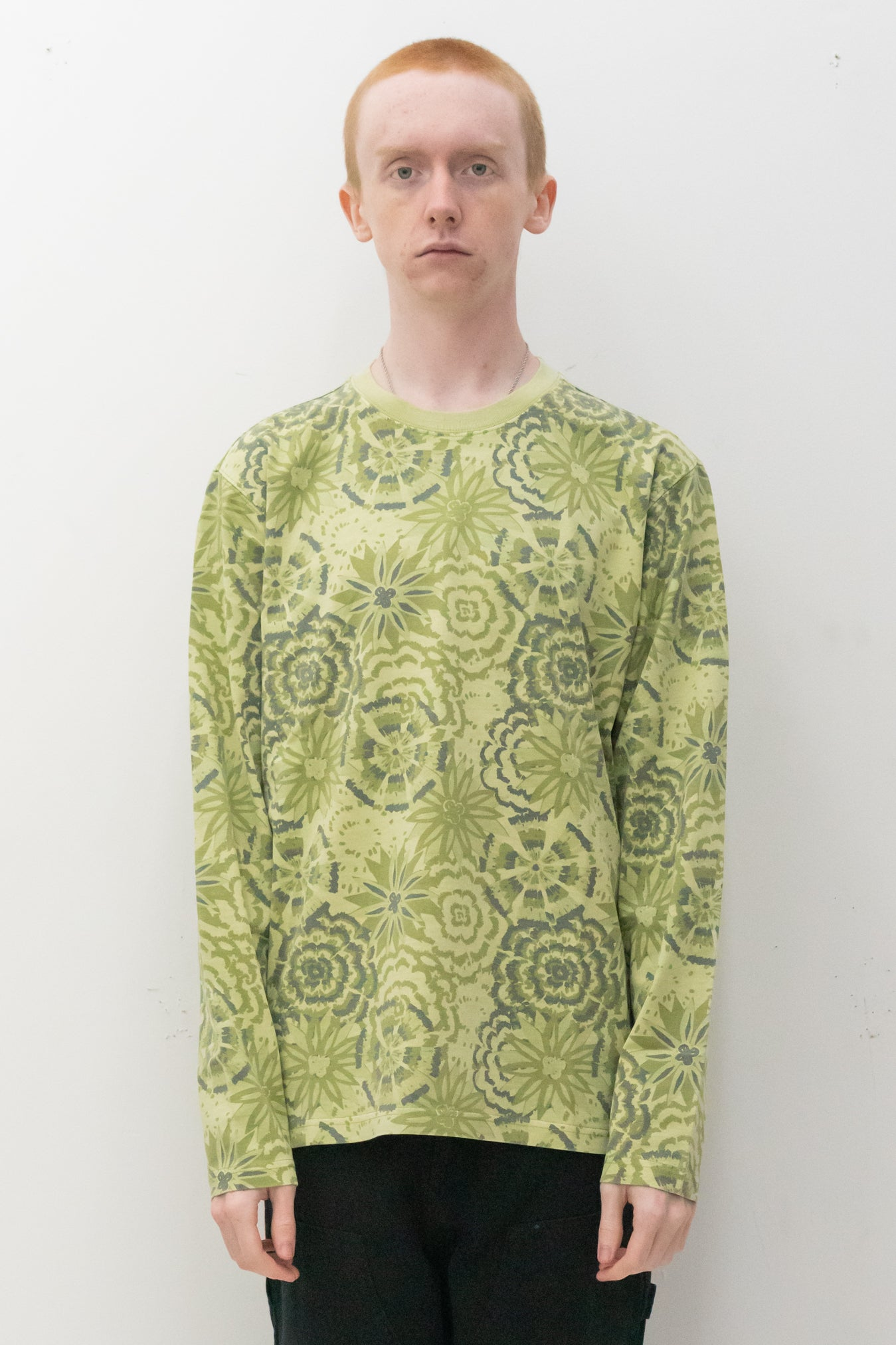 Flower LS Crew in Lime