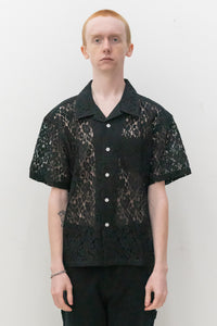 Floral Pattern lace Shirt in Black