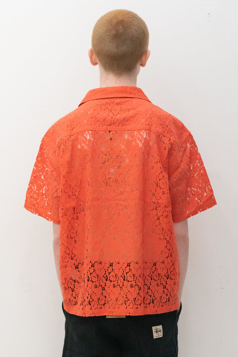 Floral Pattern lace Shirt in Orange