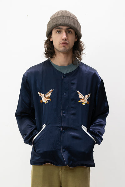 Reversible Souvenir Jacket in Navy and Pink