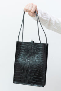 Sub Tote in Black Croco