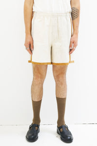 One-of-a-kind Feedsack Suede Rugby Shorts in M/L