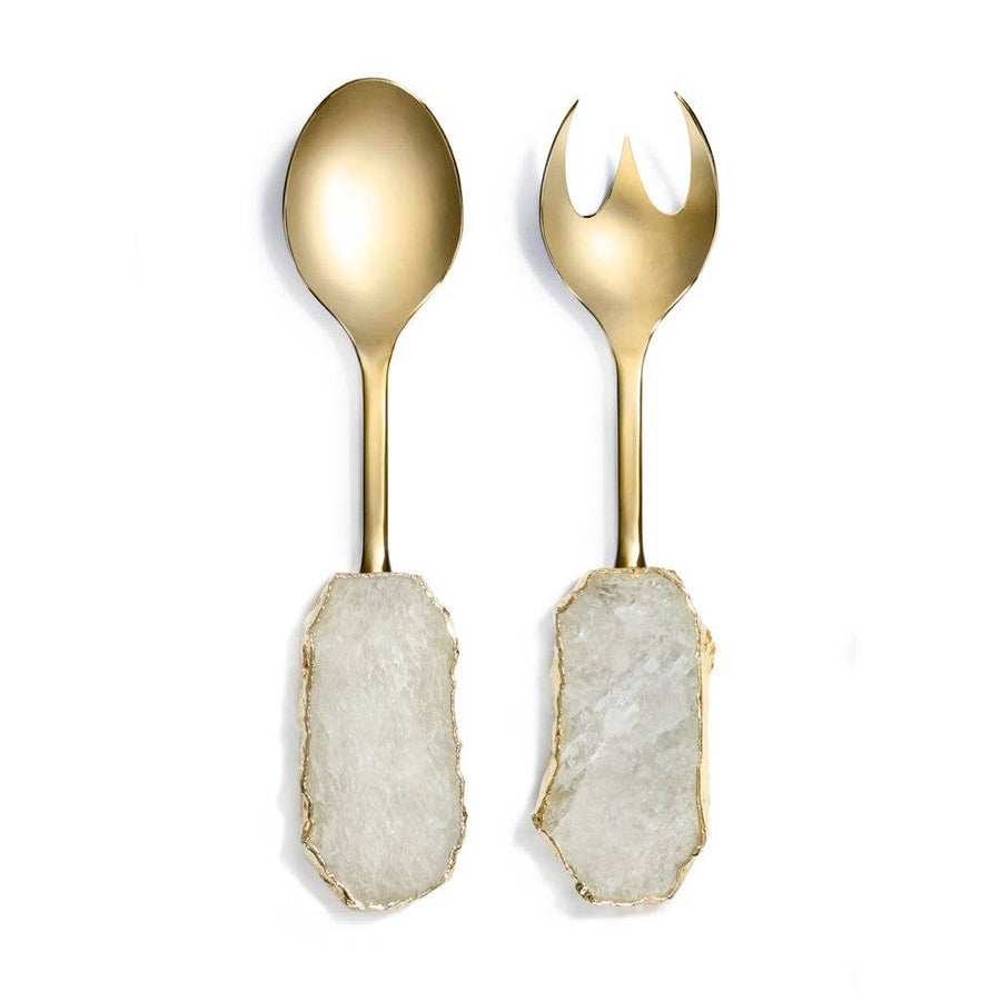 Scossa Salad Servers Crystal and 24k Gold - Sidney Byron