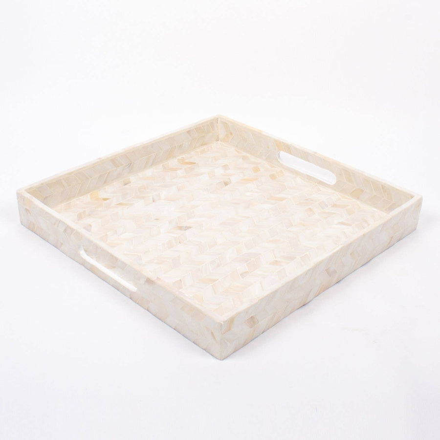 Mother of Pearl Square Tray - White - Sidney Byron