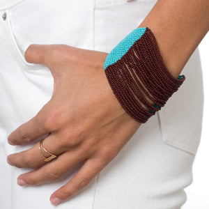 Brown and Turquoise Beaded Bracelet - Sidney Byron