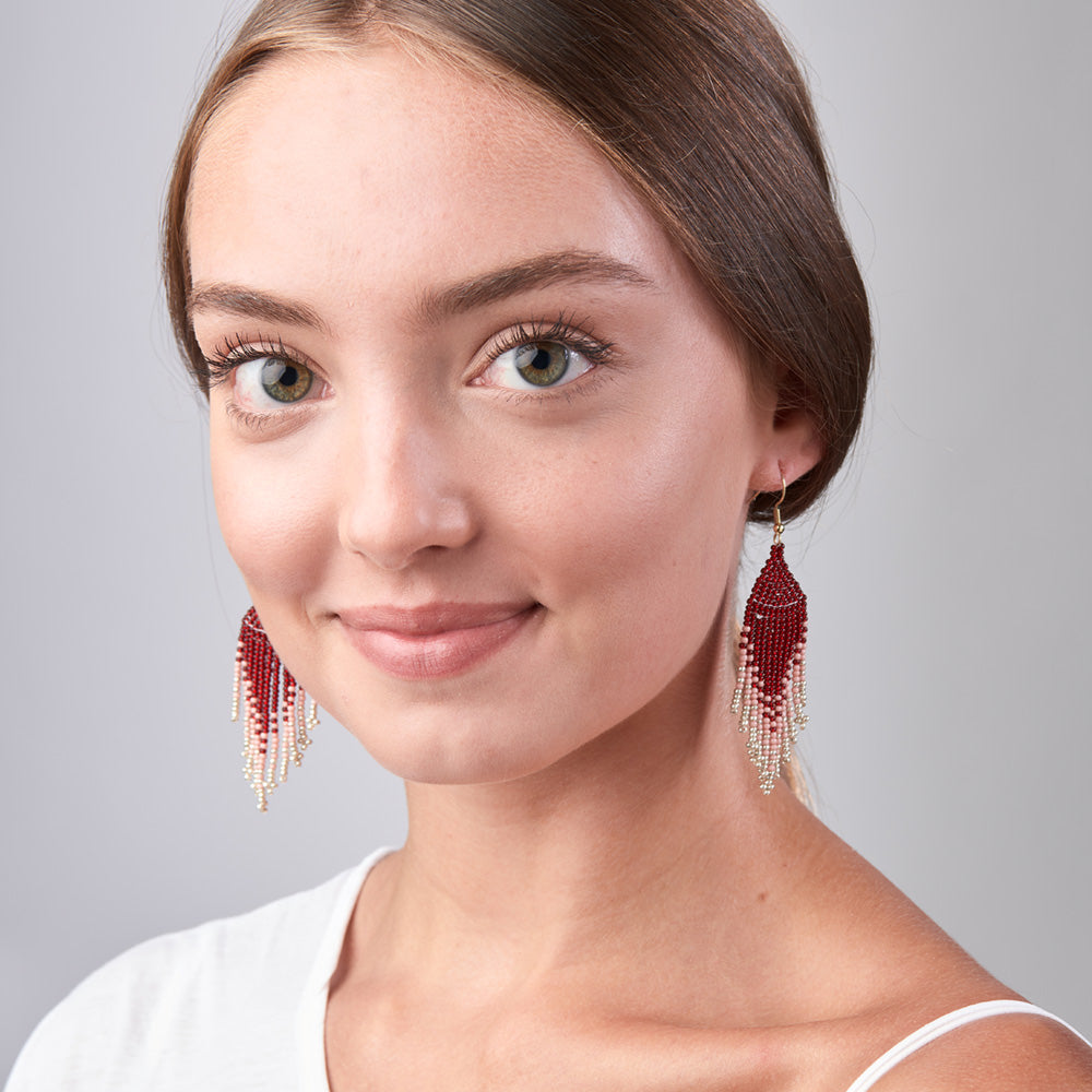 Crimson Moon Fringe Earrings - Sidney Byron